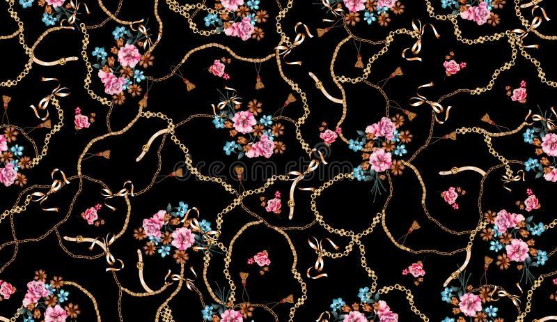Modni bezszwowi barwioni kwiaty pełno paski i łańcuchy; Retro stylowy kwiecisty royalty ilustracja