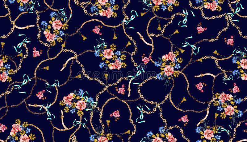 Modni bezszwowi barwioni kwiaty pe?no paski i ?a?cuchy; Retro stylowy kwiecisty ilustracja wektor