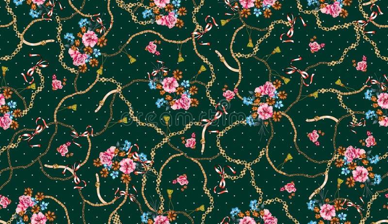 Modni bezszwowi barwioni kwiaty pe?no paski i ?a?cuchy; Retro stylowy kwiecisty royalty ilustracja