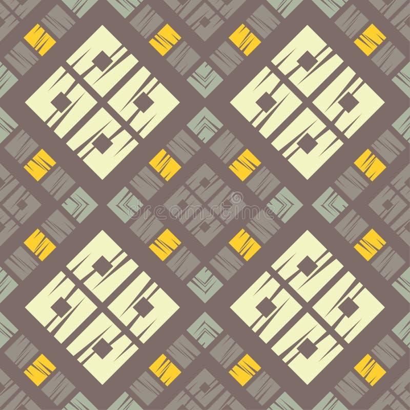 Modni bezszwowi wzorów projekty Mozaika czworoboki z starą teksturą Wektorowy geometryczny tło royalty ilustracja