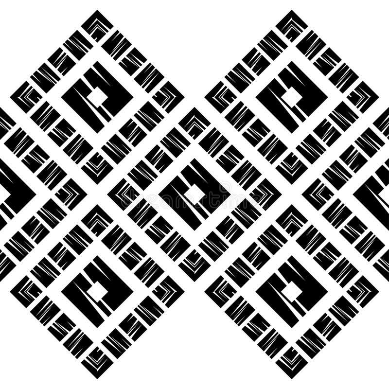 Modni bezszwowi wzorów projekty Mozaika czworoboki z starą teksturą Wektorowy geometryczny tło ilustracji