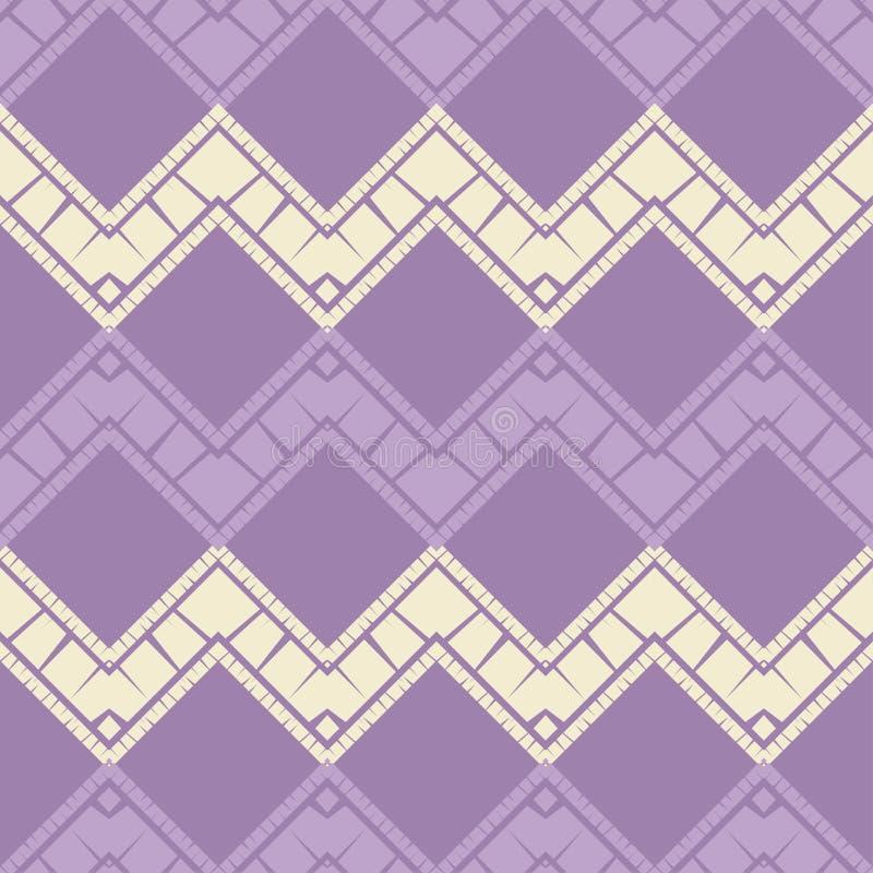 Modni bezszwowi wzor?w projekty Mozaika zygzag z star? tekstur? Wektorowy geometryczny t?o ilustracja wektor