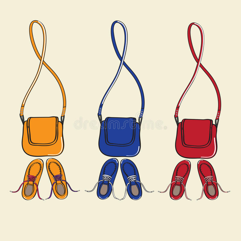 Modni buty i dopasowywanie torebki royalty ilustracja