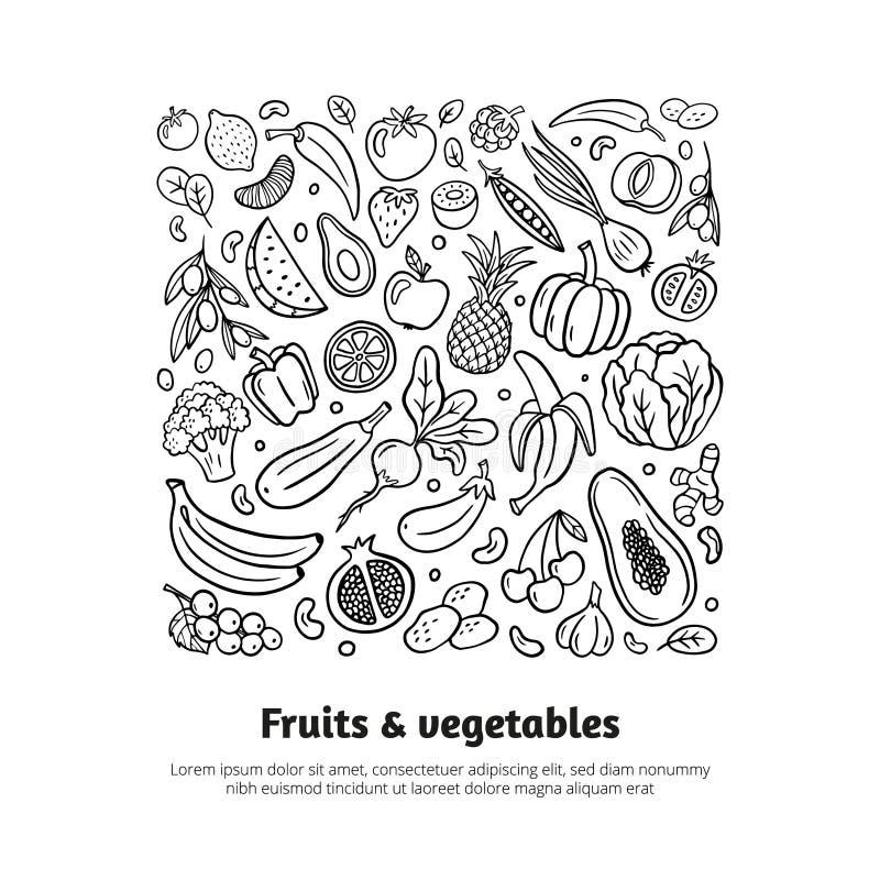 Modni czarny i biały pociągany ręcznie owoc i warzywo Zdrowy karmowy temat w organicznie doodle stylu z editable tekstem royalty ilustracja