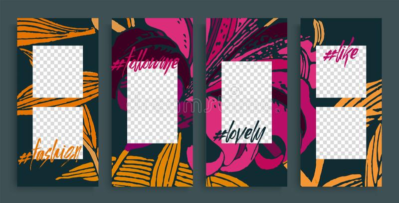 Modni editable opowieść szablony, wektorowa ilustracja Projektów tła dla ogólnospołecznej medialnej opowieści royalty ilustracja
