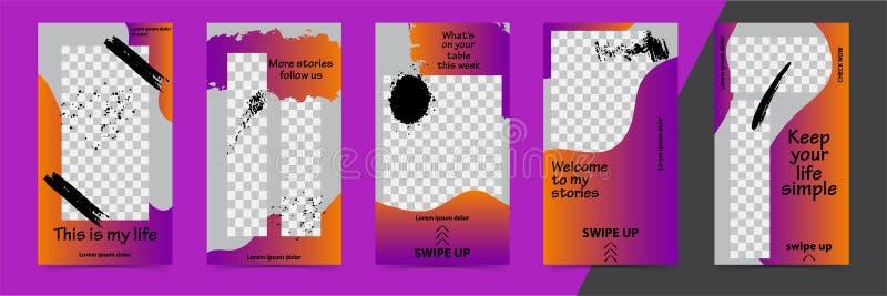 Modni editable szablony dla instagram opowieści, czarna Piątek sprzedaż, prezent, wektorowa ilustracja Projektów tła dla ogólnosp royalty ilustracja