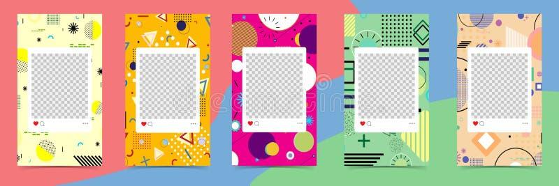 Modni editable szablony dla instagram opowieści, sprzedaż Projektów tła dla ogólnospołecznych środków Ręka rysująca abstrakt kart royalty ilustracja