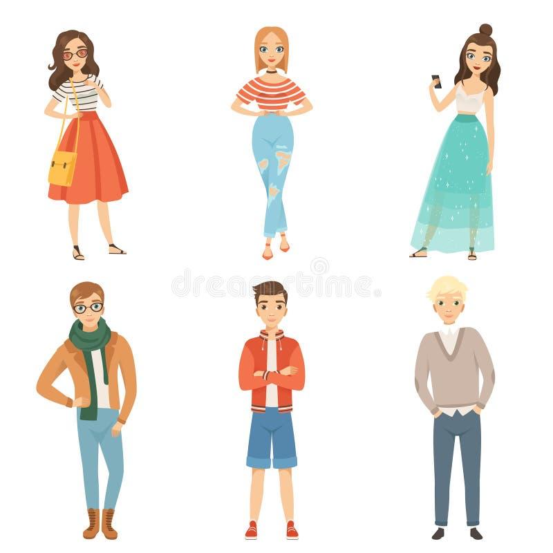 Modni faceci i dziewczyny Kreskówka męscy i żeńscy charaktery w różnorodnych mod pozach royalty ilustracja