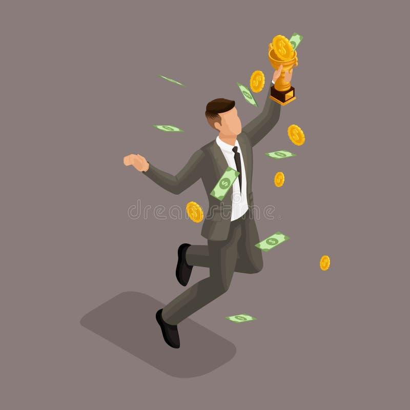 Modni isometric ludzie, 3d biznesmen, pojęcie z młodym biznesmenem, pieniądze, złoto, otrzymywający nagrody i pieniądze nagrodę royalty ilustracja