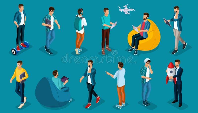 Modni isometric wektorowi ludzi, 3d osoby, nowożytnych młodzi ludzie i gadżety nastolatkowie, freelancers, rozpoczęcie, coworking ilustracji