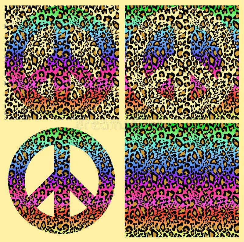 Modni kolorowi bezszwowi tła i hipisa pokoju symbol z lamparta drukiem Fasonuje projekt dla tkaniny, tapeta, t shi royalty ilustracja