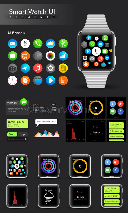 Modni Mądrze zegarka UI elementy ilustracji