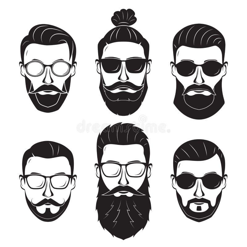 Modnisiów brodaci mężczyzna z różnymi fryzura wąsów brodami royalty ilustracja