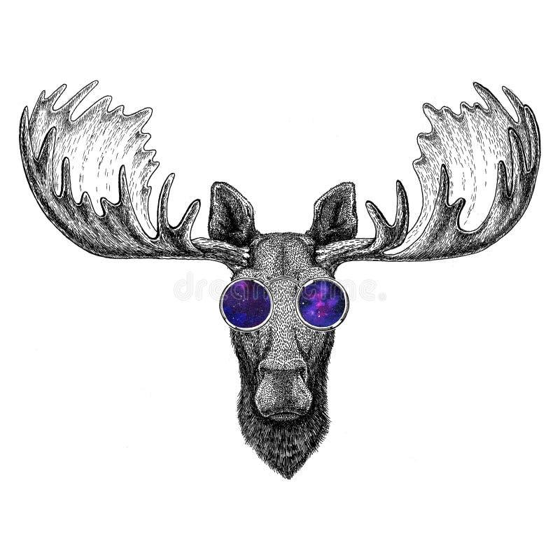 Modnisia łoś amerykański, łoś jest ubranym szkło wizerunek dla tatuażu, logo, emblemat, odznaka projekt ilustracji