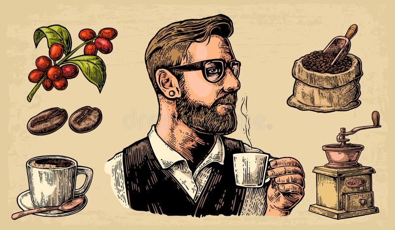 Modnisia barista trzyma filiżankę gorący kawa worek z kawowymi fasolami z drewnianą miarką, fasole, filiżanka, gałąź z liściem i  ilustracji