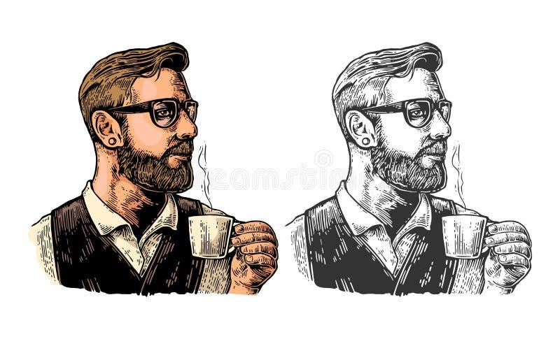 Modnisia barista z brodą trzyma filiżankę gorąca kawa ilustracja wektor
