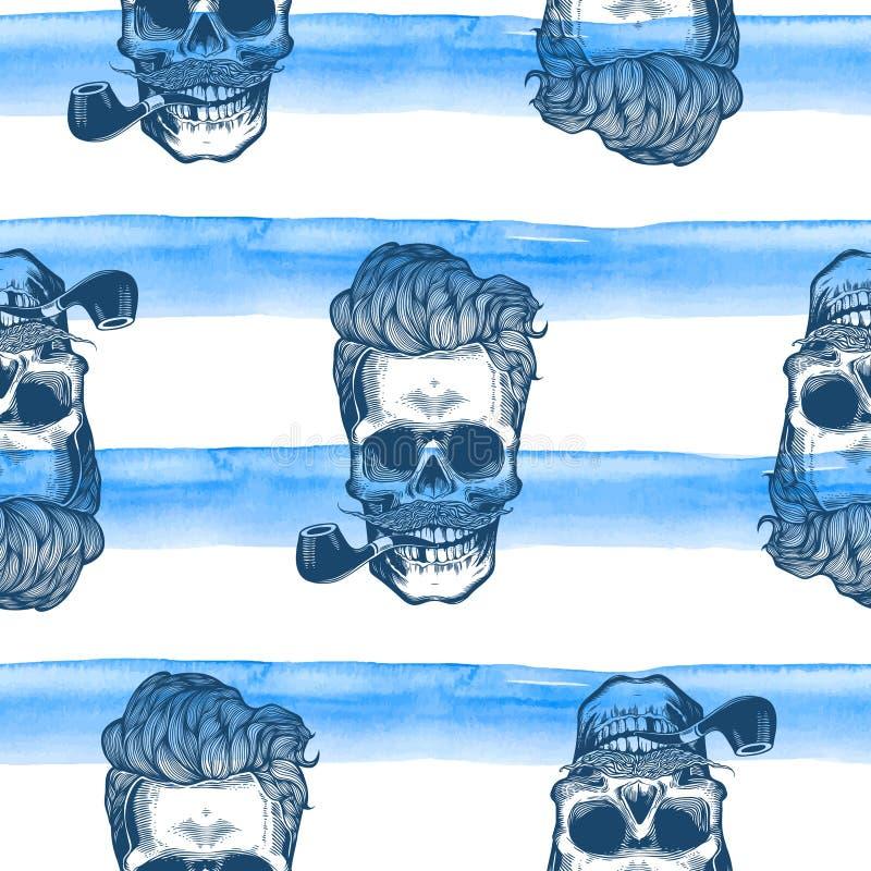 Modnisia bezszwowy wzór z czaszek sylwetek akwareli lampasami przy tłem ilustracji