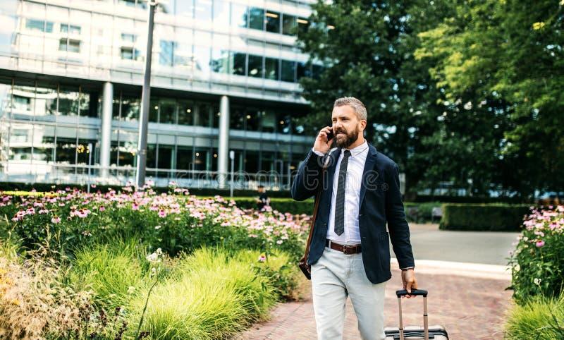 Modnisia biznesmen z smartphone i walizki odprowadzeniem w parku w Londyn zdjęcie royalty free
