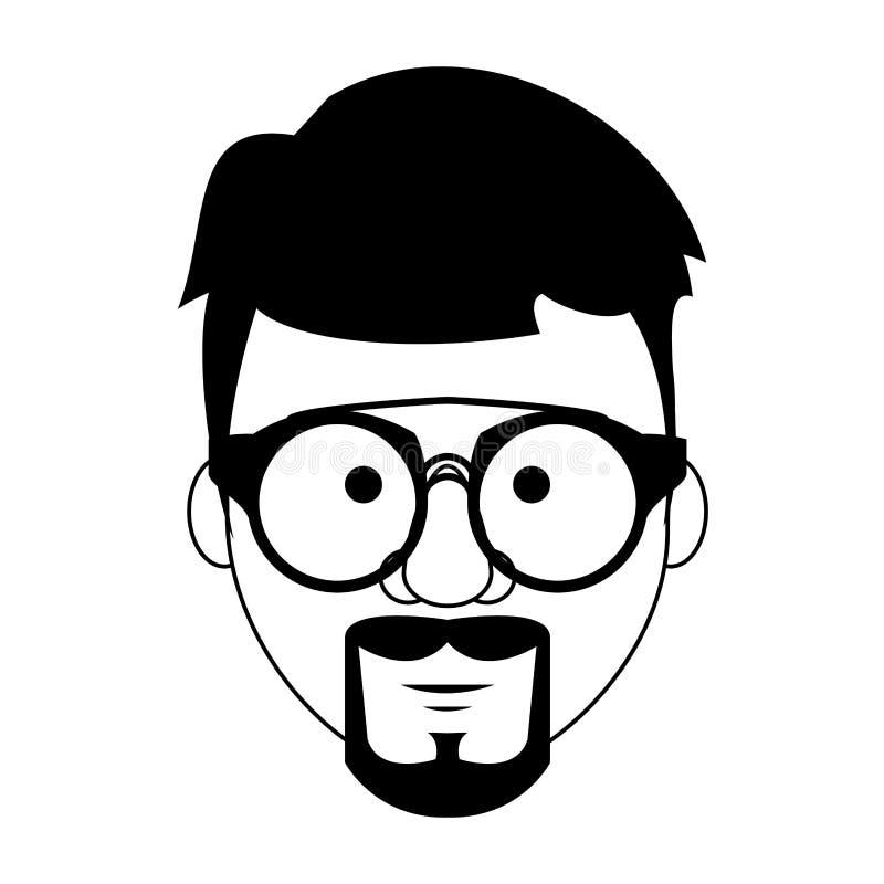 Modnisia faceta twarzy kreskówka w czarny i biały ilustracja wektor