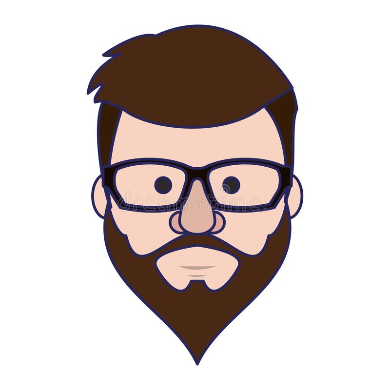 Modnisia faceta twarzy kresk?wki niebieskie linie ilustracja wektor