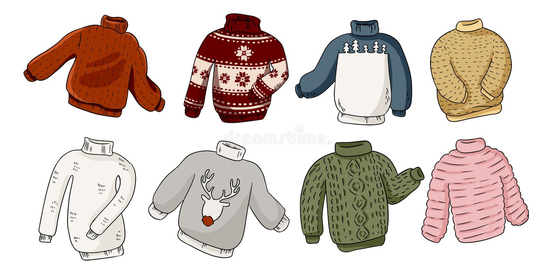 Modnisia hygge pulower?w majcheru kolorowi doodles ustawiaj?cy ilustracji