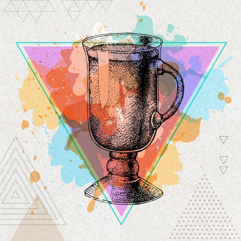 Modnisia koktajlu irlandzkiej kawy ilustracja na artystycznym akwareli tle royalty ilustracja