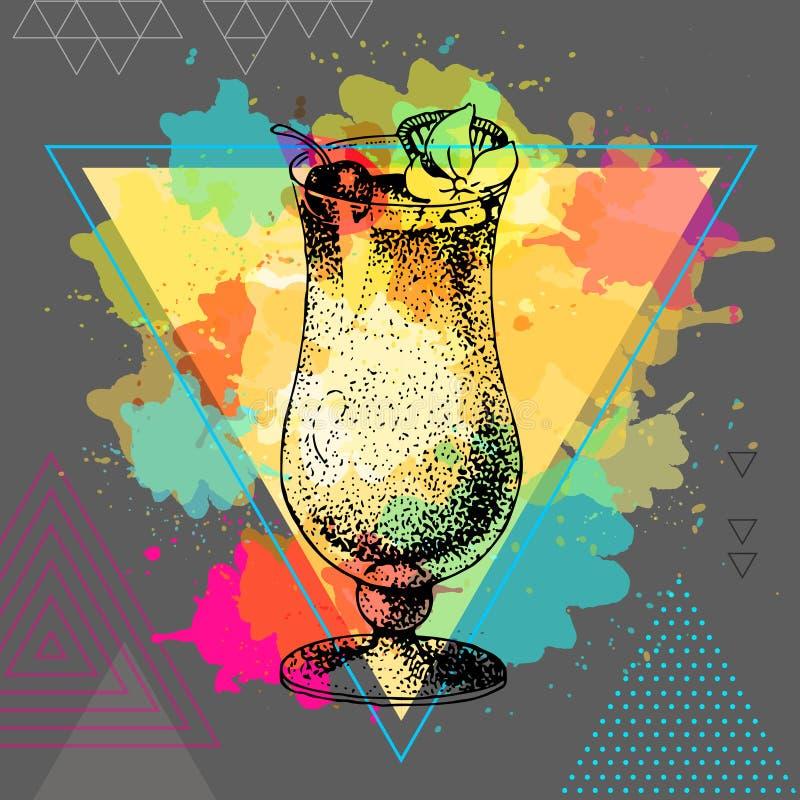 Modnisia koktajlu pina colada ilustracja na wielobok akwareli tle royalty ilustracja