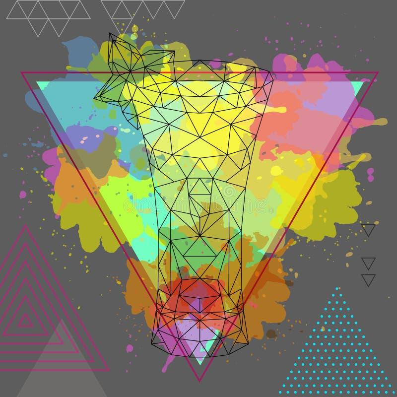 Modnisia koktajlu poligonalny absynt na akwareli backgound ilustracja wektor
