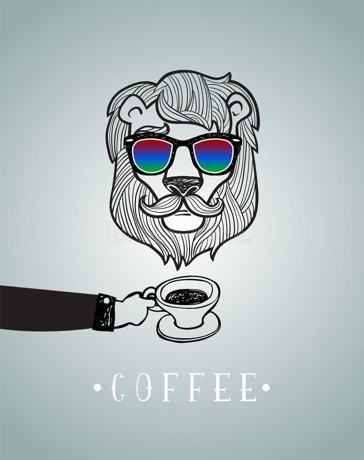 Modnisia lew jest ubranym widowiska ilustracji