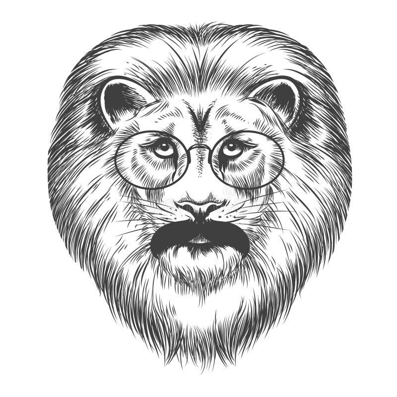 Modnisia lew z wąsy i eyeglasses royalty ilustracja