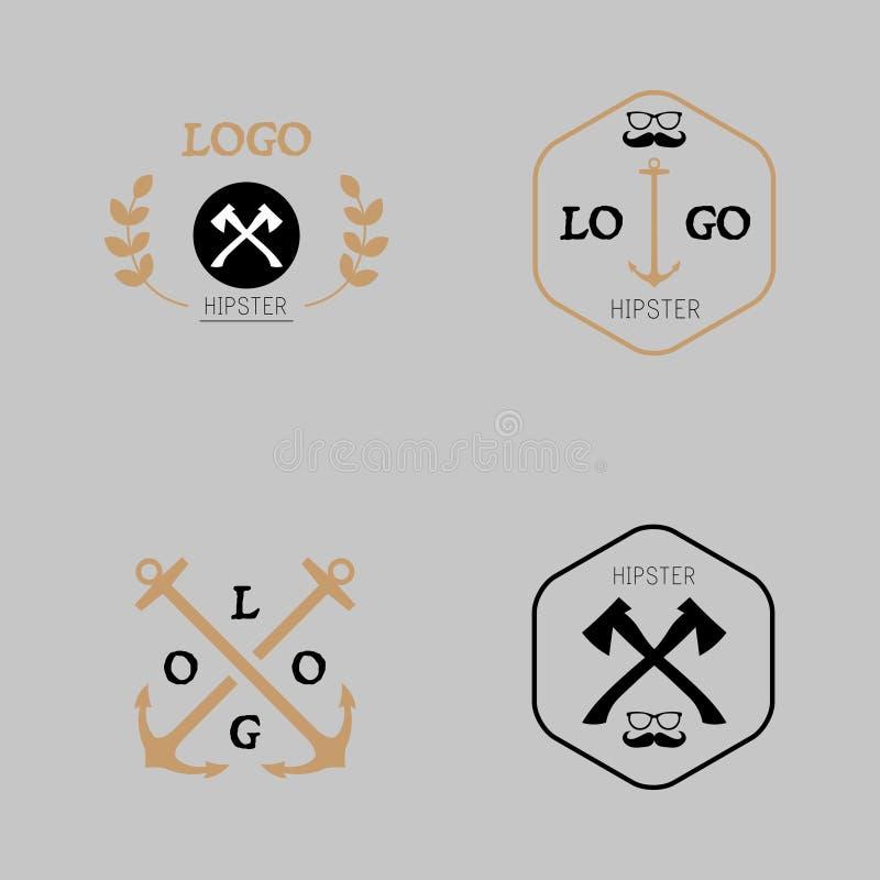Modnisia logotyp z cioską, wąsy, kotwica ilustracja wektor