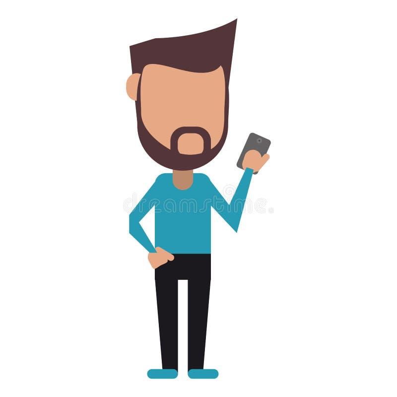 Modnisia mężczyzna broda używać telefon komórkowego cyfrowego royalty ilustracja