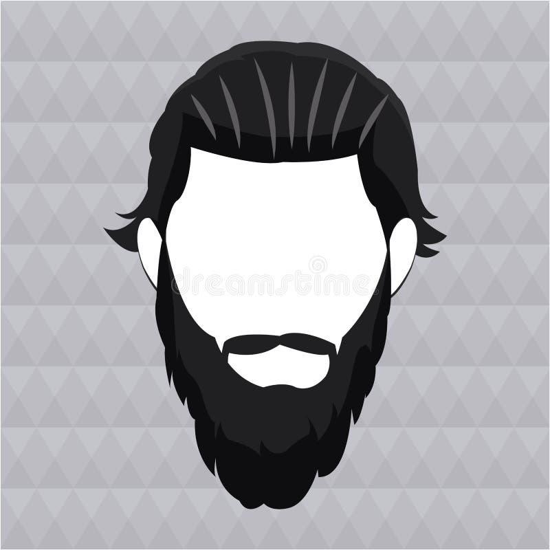 Modnisia mężczyzna brody długi włosy royalty ilustracja