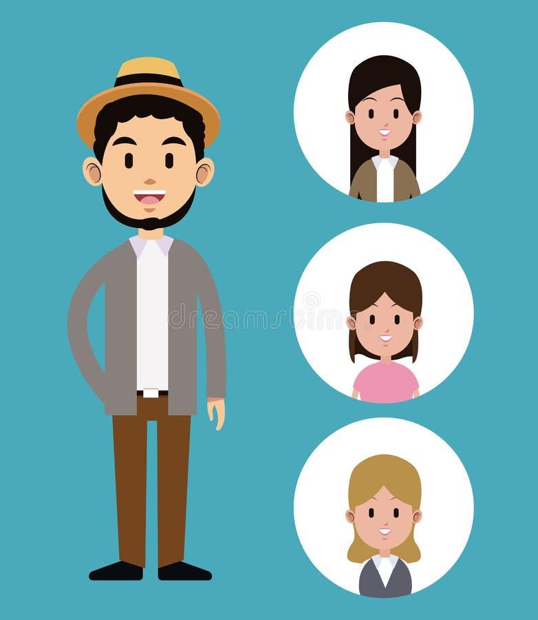 Modnisia mężczyzna brody kapelusz z twarzy dziewczyny ikonami ilustracji