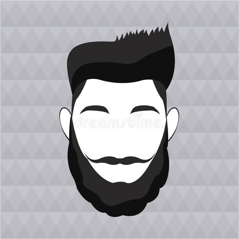 Modnisia mężczyzna brody włosiany wąsy elegancki ilustracji