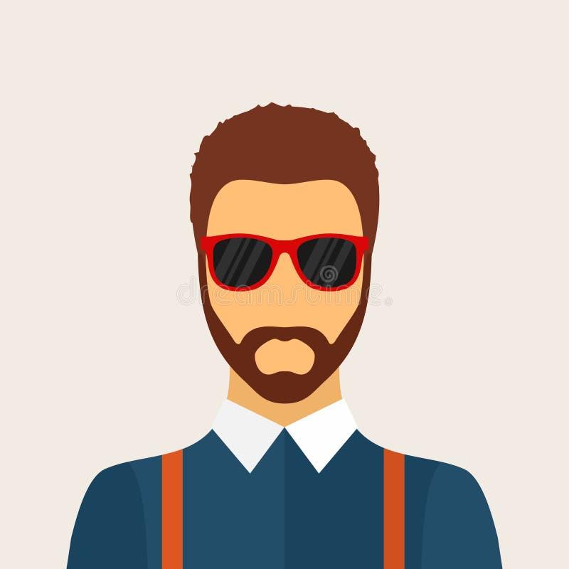 Modnisia mężczyzna charakter z brodą, fryzurą i szkłami w mieszkaniu, royalty ilustracja