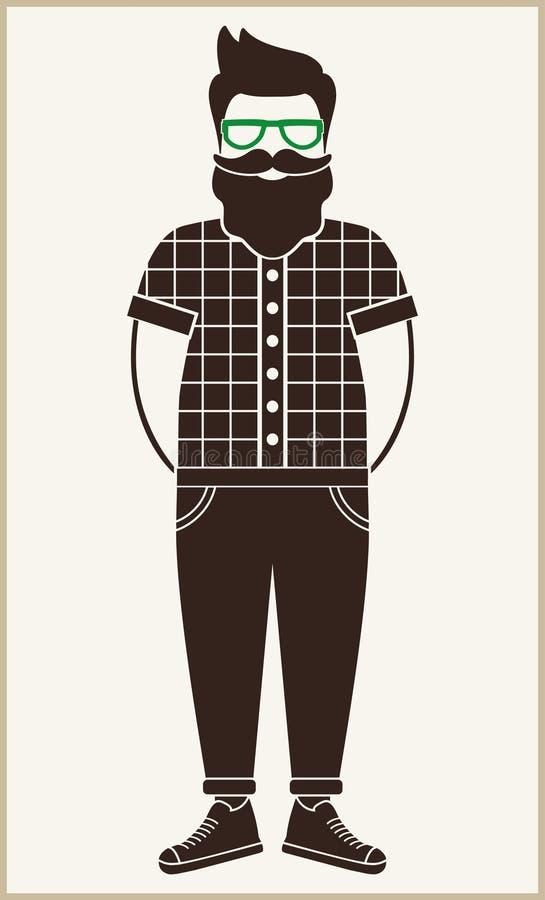 Modnisia mężczyzna ikony płaska sylwetka - mężczyzna z wąsy, broda, szkła, być ubranym w szkockiej kraty koszula, spodnia i sneak ilustracji