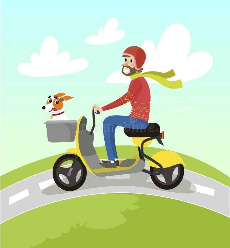 Modnisia mężczyzna jeździecka żółta hulajnoga z jego dźwigarki Russell teriera psa kreskówki wektoru ilustracją royalty ilustracja