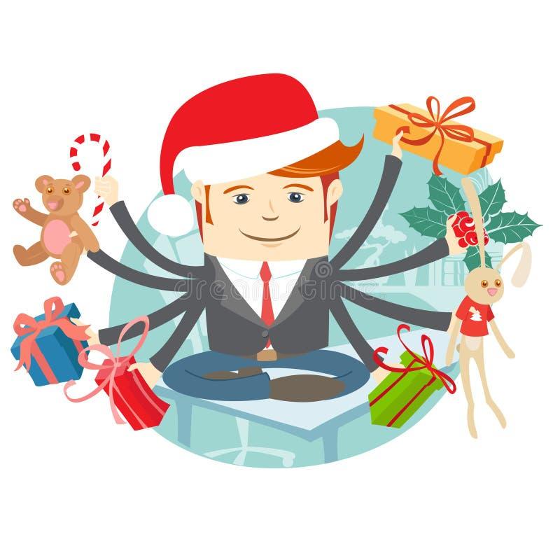 Modnisia mężczyzna jest ubranym Santa Claus kapeluszowego obsiadanie na biurku Presen ilustracja wektor