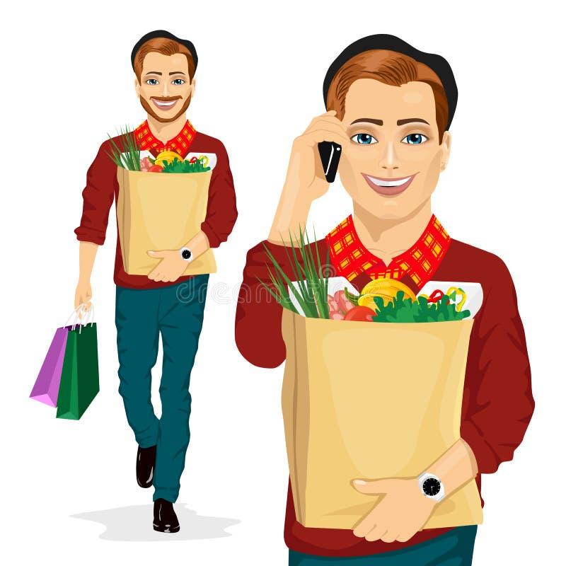 Modnisia mężczyzna przewożenia sklepu spożywczego papierowa torba zdrowy jedzenie pełno podczas gdy opowiadający na telefonie kom royalty ilustracja