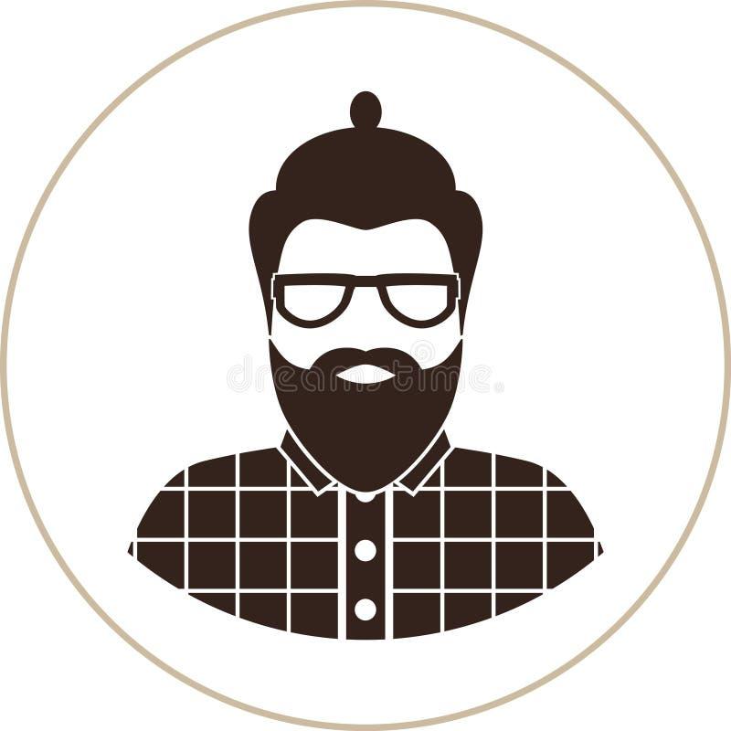 Modnisia mężczyzna sylwetka, płaska ikona, wąsy i broda, - mężczyzna z szkłami, być ubranym w szkockiej kraty koszula ilustracja wektor