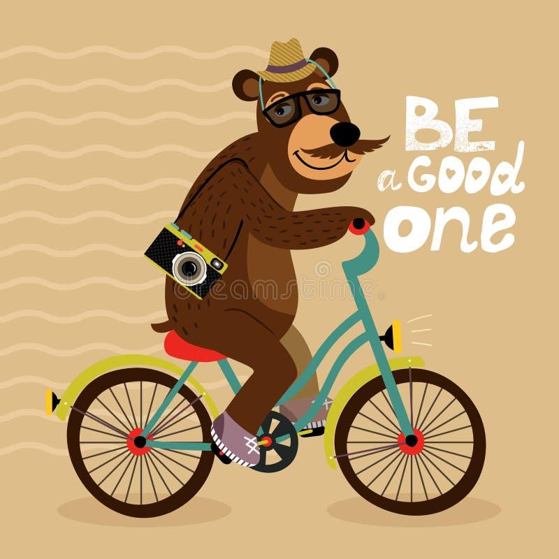 Modnisia plakat z fajtłapa niedźwiedziem ilustracji