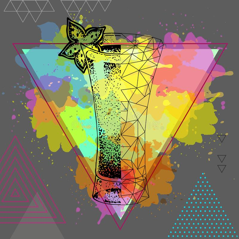 Modnisia realistyczny i poligonalny koktajlu absyntu onwatercolor tło ilustracja wektor