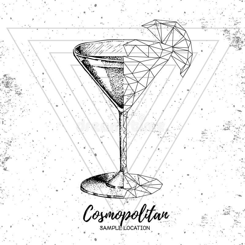 Modnisia realistyczny i poligonalny koktajlu kosmopolita ilustracji