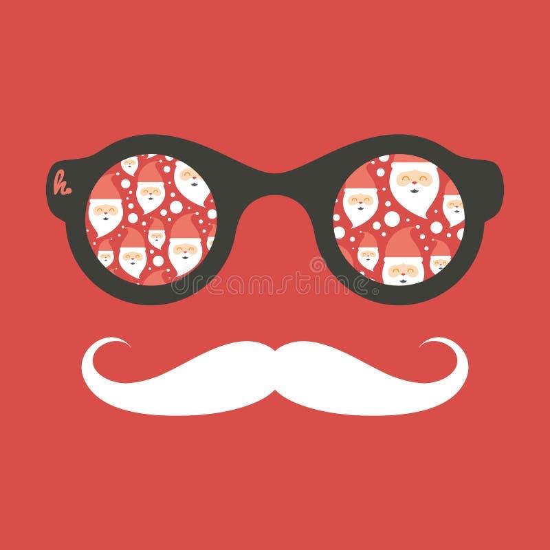 Modnisia rocznika okulary przeciwsłoneczni z Święty Mikołaj royalty ilustracja