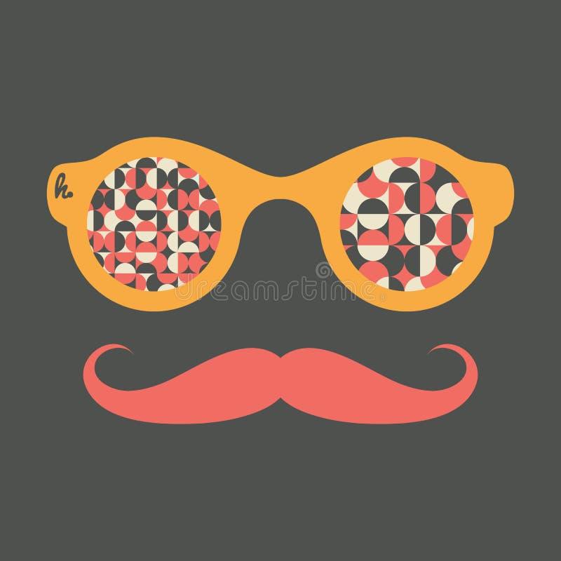 Modnisia rocznika okulary przeciwsłoneczni z okręgami i półkolami royalty ilustracja