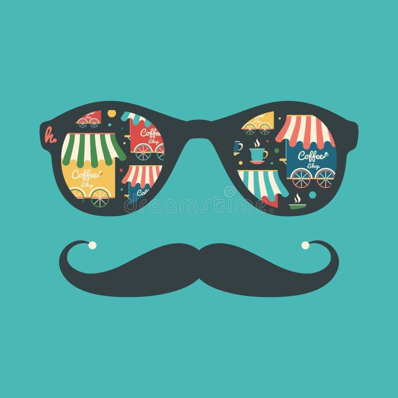 Modnisia rocznika okulary przeciwsłoneczni z sklep z kawą i filiżankami ilustracja wektor