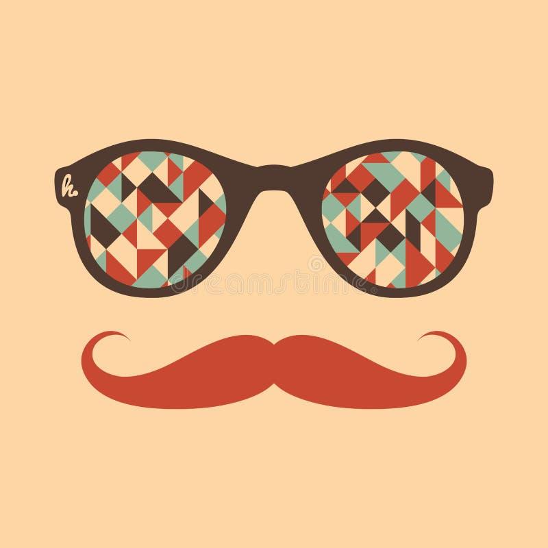Modnisia rocznika okulary przeciwsłoneczni z trójbokami i kwadratami ilustracji