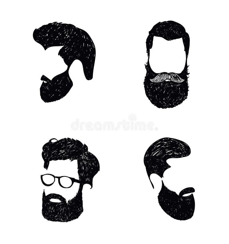Modnisia włosy i brody, moda wektor royalty ilustracja