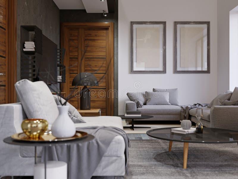 Modnisia wewnętrzny projekt z projektant miękką kanapą i magazynu stołem w czerni Kombinacja biała i szara betonowa ściana Dwa ilustracja wektor